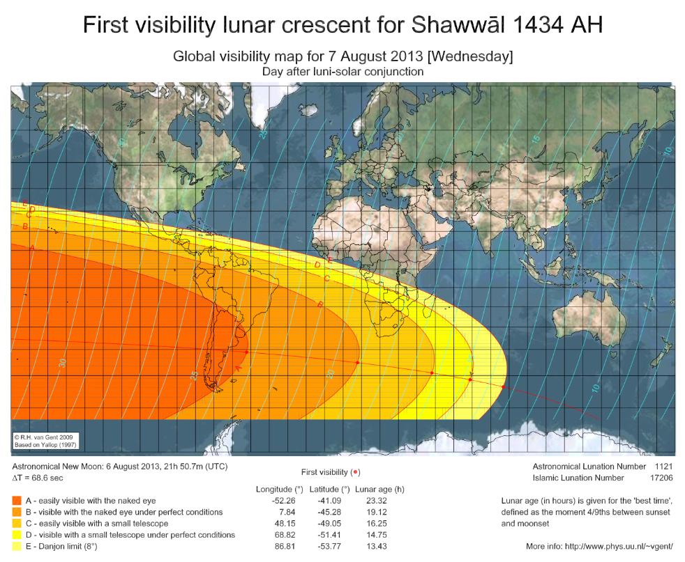 Mapa para el avistamiento de la  nueva luna del final de Ramadán y el Eid Al Fitr
