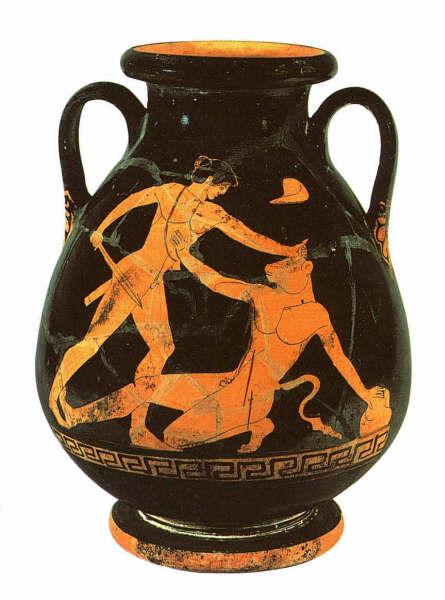 Representación de Teseo dadndo muerte al minoatauro en un vasija griega