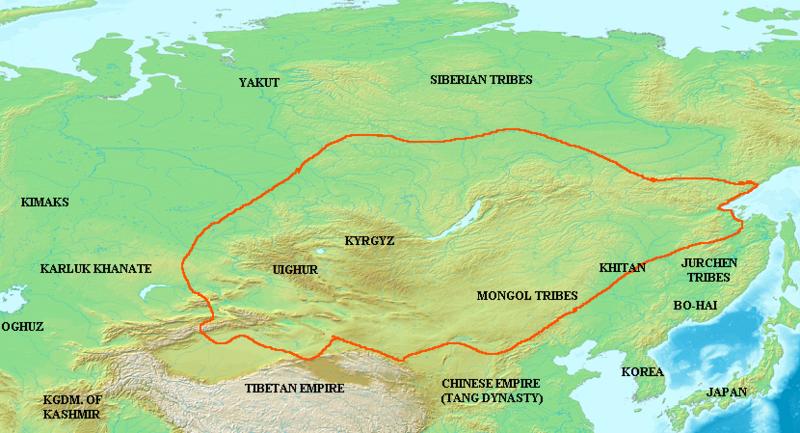 Máxima extensión del Kanato Uigur