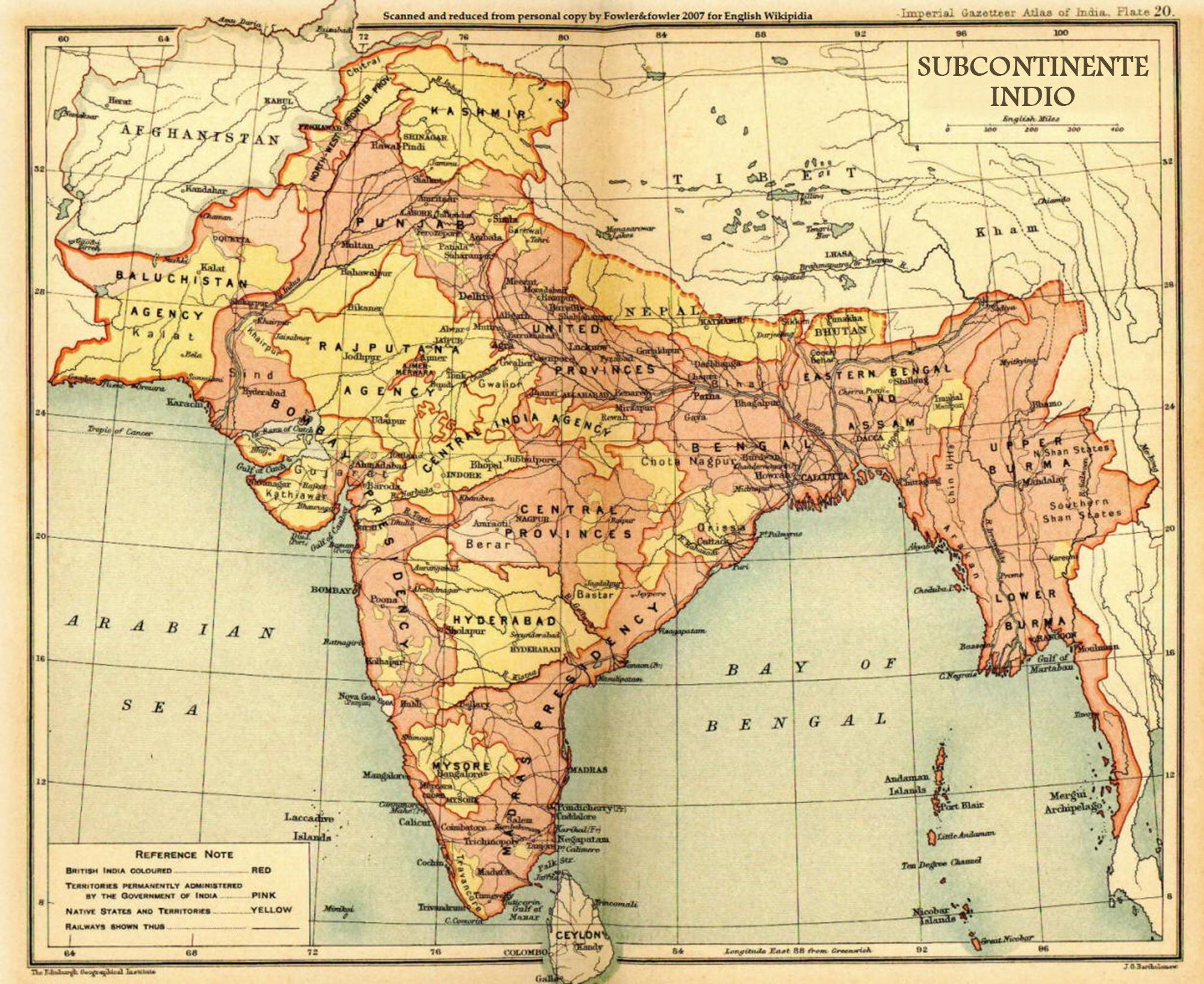 Mapa de la extensión territorial del Subcontinente indio