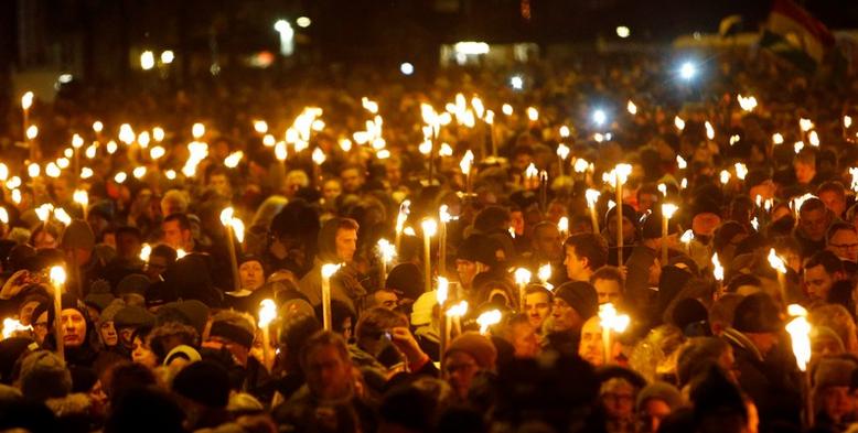 Manifestación en Copenhague, 16 de febrero.