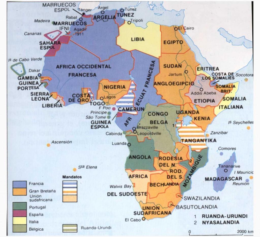 División de África según sus colonias hacia 1914