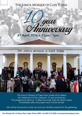 Cartel del décimo aniversario de la Mezquita Yumu'a de Ciudad del Cabo